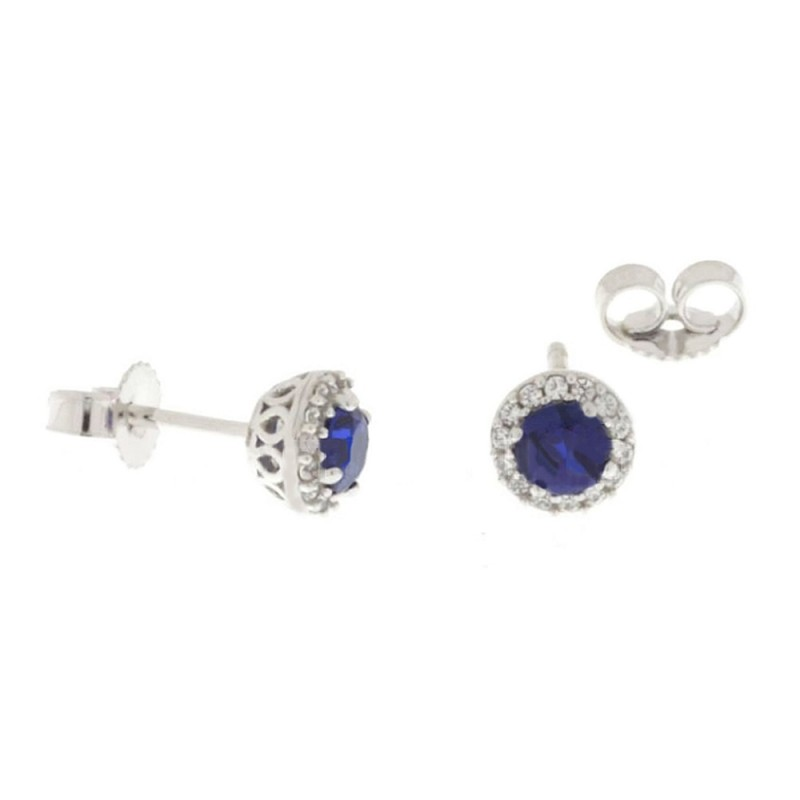 White Gold 18 K Colored Quartz and Cubic Zirconia Dorothy Earrings