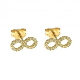 Yellow gold 18 K cubic zirconia Infinity earrings