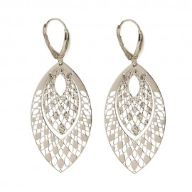 White gold 18Kt 750/1000 drop plate woman earrings