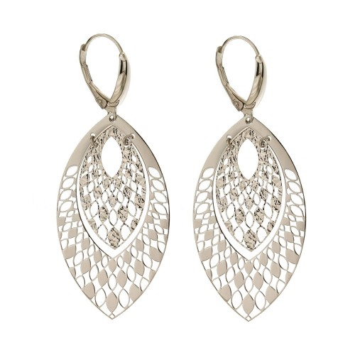 18 K White Gold Drop Plate Woman Earrings