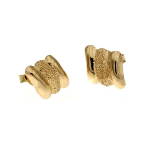 Yellow gold 18 K shiny and diamond cut earrings