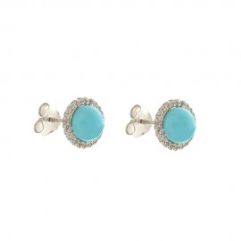 White Gold 18 K Turquoise and Cubic Ziirconia Earrings