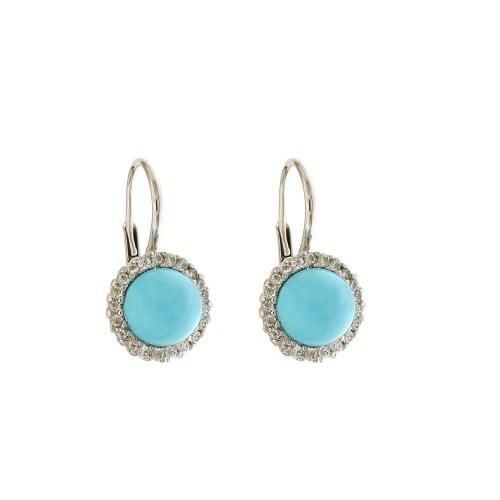 White Gold 18 K Turquoise and Cubic Zirconia Leverback Closure Earrings