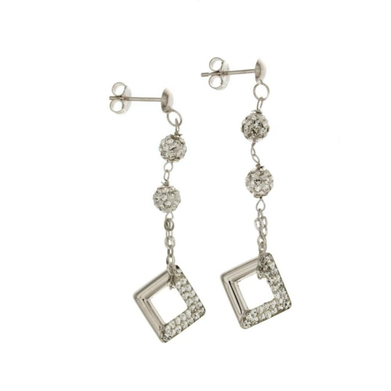 Gold 18 K with cubic zirconia pendant earrings