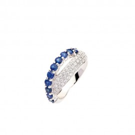 White gold 18 Kt with diamonds and shappires ring