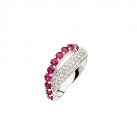 White gold 18 Kt with diamonds and rubies ring