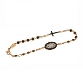Rose gold 18 K Rosary bracelet with white and black cubic zirconia