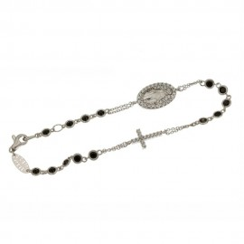 White and rose gold 18 K Rosary bracelet with white and black cubic zirconia