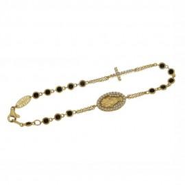 Bracciale rosario in oro giallo 18 Kt con pietre bianche e nere