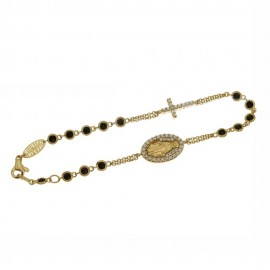 Yellow gold 18 K Rosary bracelet with white and black cubic zirconia
