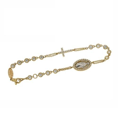 Bracciale rosario in oro giallo 18 Kt con zirconi bianchi