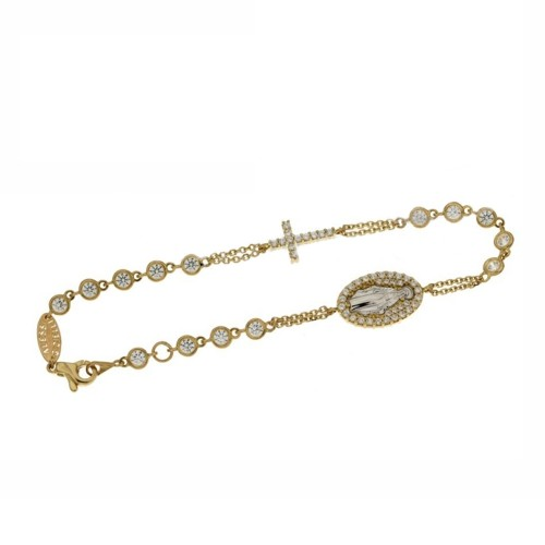 Yellow gold 18 K Rosary bracelet with white cubic zirconia