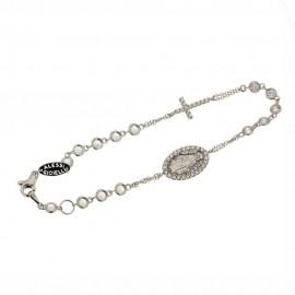 Bracciale rosario in oro bianco e rosa 18 Kt con zirconi bianchi