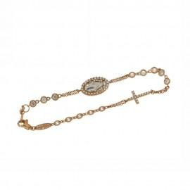 Bracciale rosario in oro rosa e bianco 18 Kt con zirconi bianchi