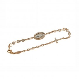 Rose and white gold 18 K Rosary bracelet with white cubic zirconia