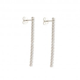 White Gold 18 K Cubic Zirconia Tennis Earrings Length 1.57 inch
