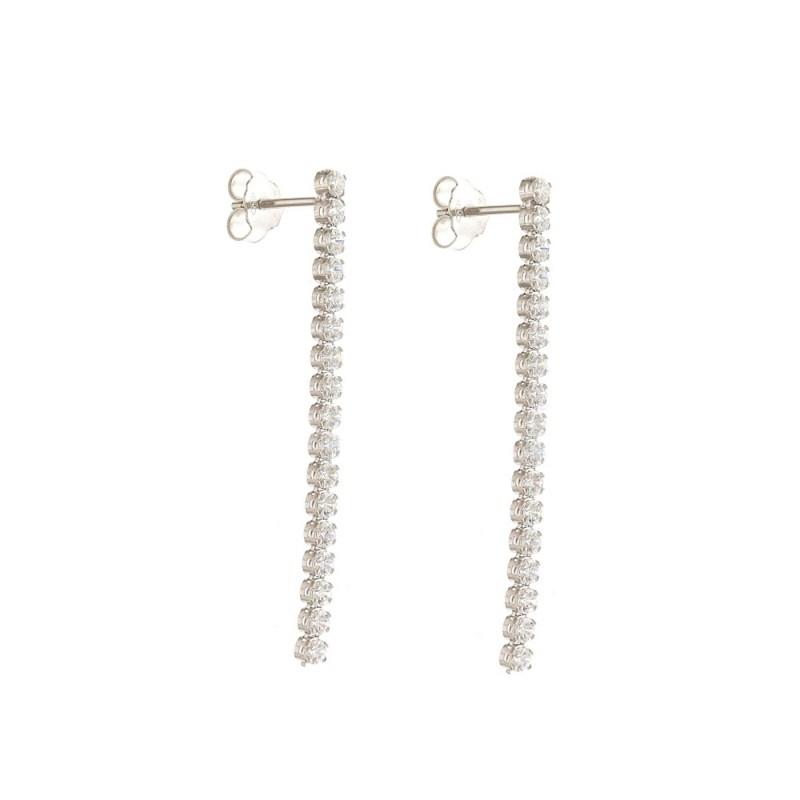 White Gold 18 K Cubic Zirconia Tennis Earrings