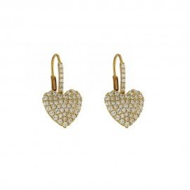 18 K Gold Hearts Cubic Zirconia Woman Earrings