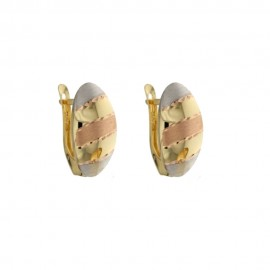 Yellow, white and rose gold 18 K Vintage Woman Earrings
