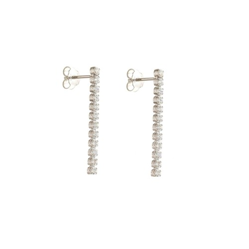 White Gold 18 K Cubic Zirconia Tennis Earrings Length 0.98 inch