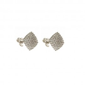 Gold 18 K Square Shape With Cubic Zirconia Earrings