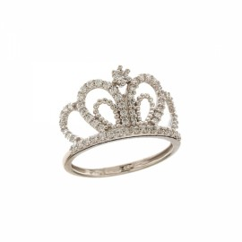 Gold 18 K With Cubic Zirconia Crown Woman Ring