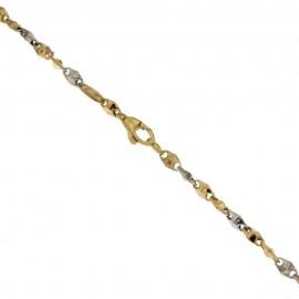 Gold 18K 750/1000 Rhombus Chain Man Bracelet