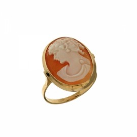 Yellow gold 18 K Authentic Cameo Woman Ring