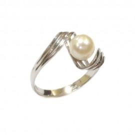 Anello in oro bianco 750% - 18Kt e perla naturale coltivata in acqua dolce