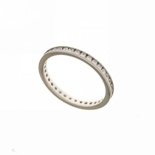 Anello Veretta in oro bianco 750% e zirconi bianchi
