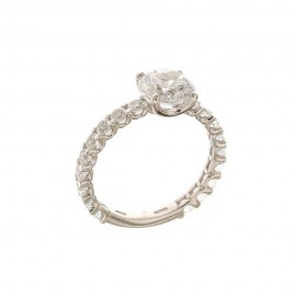 18K White gold cubic zirconia solitaire woman ring