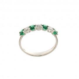 Anello mezza veretta in oro bianco 18 Kt 750/1000 con pietre verdi e bianche