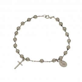 Gold 18K 750/1000 Rosary bracelet with polished grains