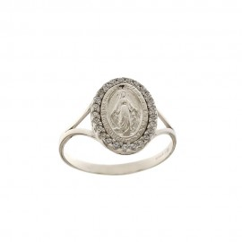 White Gold 18 K Miraculous Virgin Ring