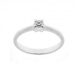 Anello solitario in oro bianco 18 Kt 750/1000 con diamante Kt 0.11