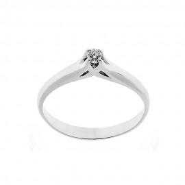 Anello solitario in oro bianco 18 Kt 750/1000 con diamante Kt 0.06