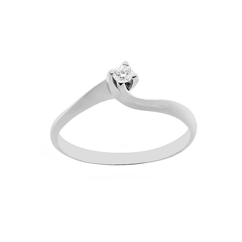 07 Diamante Donna 18 7501000 Bianco In Solitario Anello 0 Oro Con Kt 8NvmnwO0