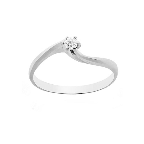 Solitaire ring 18 Kt 750/1000 white gold with diamond Kt 0.10 for woman