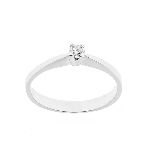 Anello solitario in oro bianco 18 Kt 750/1000 con diamante autentico Kt 0.11