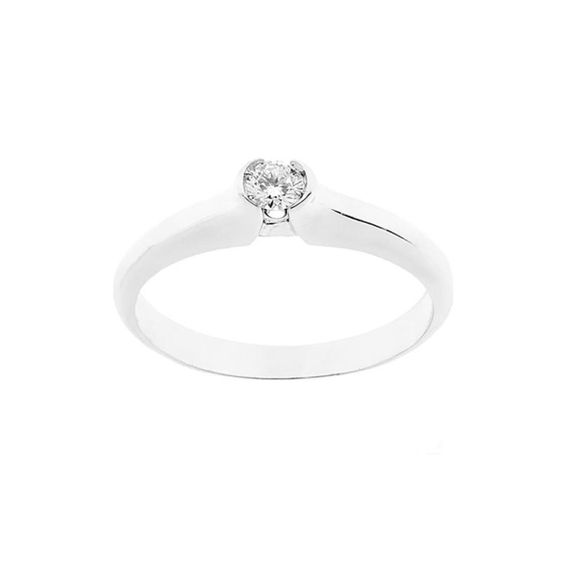 Anello solitario in oro bianco 18 Kt 750/1000 con diamante autentico Kt 0.13