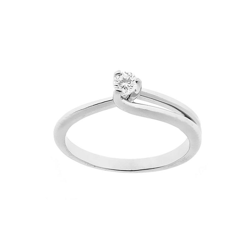 Anello solitario in oro bianco 18 Kt 750/1000 donna con diamante autentico Kt 0.14