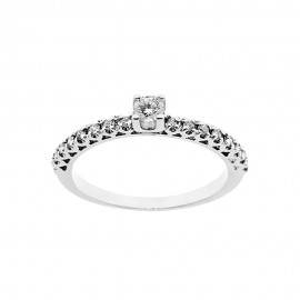 Solitaire woman ring 18 Kt 750/1000 white gold with diamonds Kt 0.31