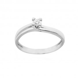 Solitaire ring 18 Kt 750/1000 white gold with diamond Kt 0.15