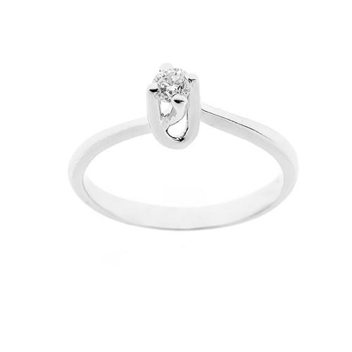Anello solitario in oro bianco 18 Kt 750/1000 donna con diamante autentico Kt 0.16