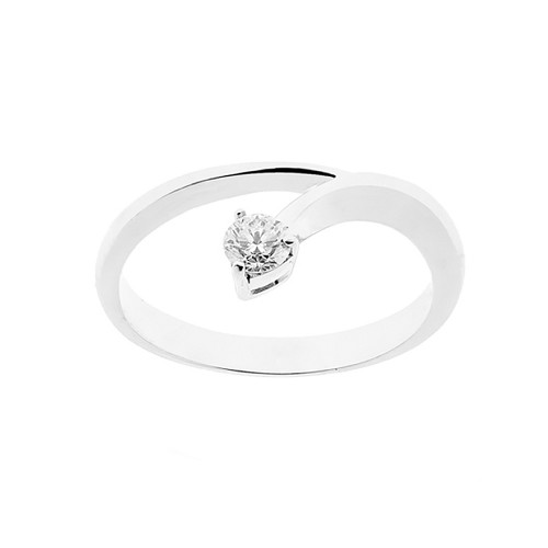 Anello solitario in oro bianco 18 Kt 750/1000 donna con diamante autentico Kt 0.20