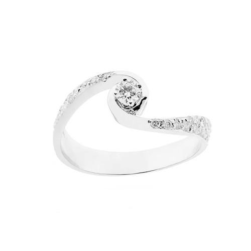 Anello solitario in oro bianco 18 Kt 750/1000 donna con diamanti Kt 0.27