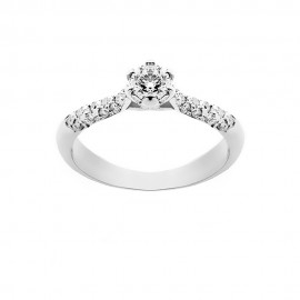 Solitaire woman ring 18 Kt 750/1000 white gold with diamonds Kt 0.50