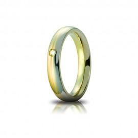 White and yellow gold 18 K Eclissi Unoaerre wedding ring, diamond, shiny, unisex