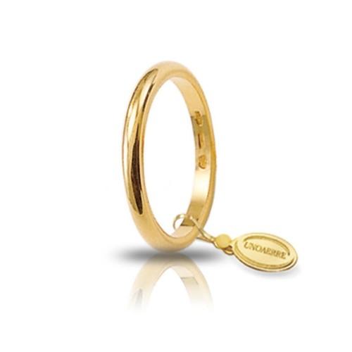 Gold 18K 750/1000 Unoaerre wedding ring band width 0.09 inch