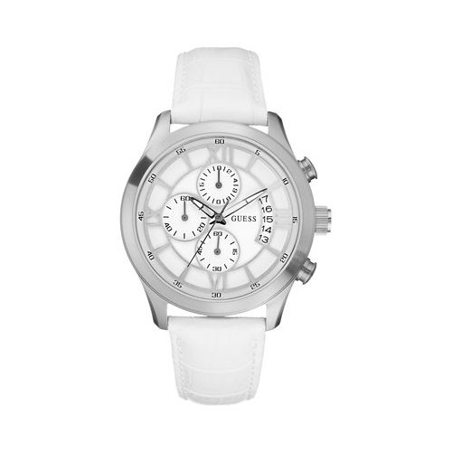 Stainless steel, chronograph, white strap unisex Guess watch W12101G1